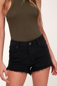Shoreline Washed Black High-Waisted Denim Shorts
