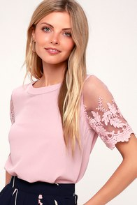 Lisa Marie Mauve Pink Embroidered Top