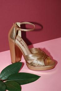 Sivan Gold Platform Ankle Strap Heels