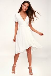 Rise To The Occasion White Midi Wrap Dress at Lulus.com!