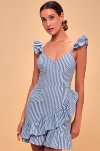 Parcel Blue and White Striped Ruffle Mini Dress