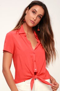 Always Chic Coral Red Button-Up Tie-Front Crop Top