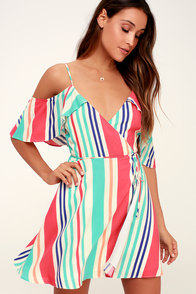 Caliente Multi Striped Off-the-Shoulder Wrap Dress at Lulus.com!
