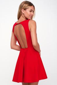 Living for Love Red Backless Skater Dress