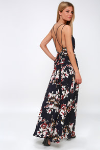 Swoon and Sway Midnight Blue Floral Print Backless Maxi Dress