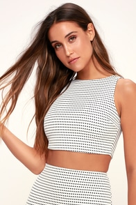 Coty Black and White Grid Print Crop Top