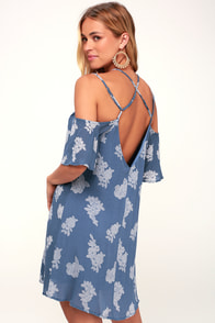 Fleur Allure Slate Blue Floral Print Off-the-Shoulder Dress