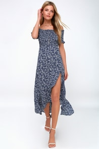 Fleur-tation Navy Blue Floral Print Off-the-Shoulder Midi Dress at Lulus.com!