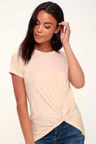 Knot To Mention Blush Pink Knotted Tee