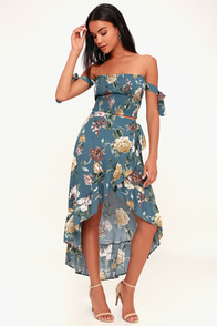 Berkeley Teal Blue Floral Print Ruffled High-Low Wrap Skirt at Lulus.com!