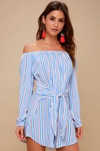 Cape Cod Red, White, And Blue Striped Off-the-Shoulder Dress at Lulus.com!