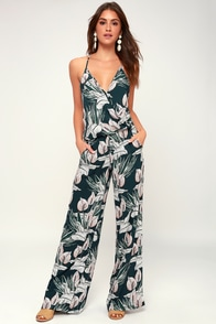 Florence Forest Green Tropical Print Wide-Leg Jumpsuit at Lulus.com!