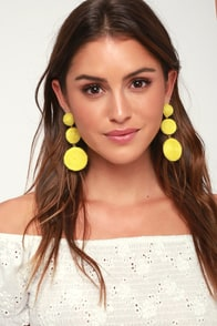Arnette Yellow Woven Earrings at Lulus.com!