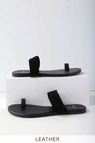Tessa Black Nappa Kid Suede Flat Sandals at Lulus.com!