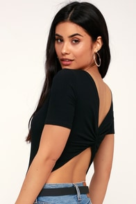 Lexie Lou Black Ribbed Knotted Back Bodysuit at Lulus.com!
