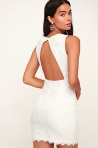 Rhythm of Love White Lace Backless Bodycon Dress