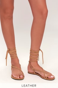 Taylen Tan Kid Suede Leather Flat Lace-Up Sandals
