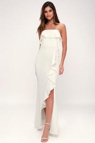 Aquarius White Strapless Ruffled Maxi Dress