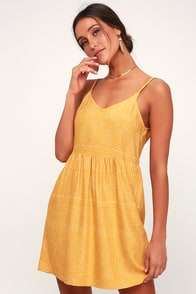 Nolan Mustard Yellow Print Dress at Lulus.com!