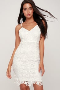 Back to You White Lace Bodycon Dress