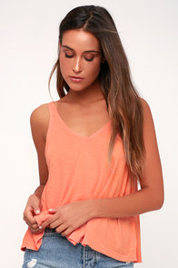 Dani Coral Pink Ribbed Tank Top at Lulus.com!