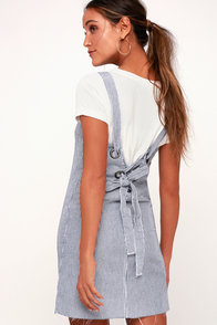 Tide Shift Blue And White Striped Lace-Up Denim Pinafore Dress at Lulus.com!