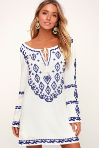 A Day in the Life Royal Blue and White Embroidered Dress
