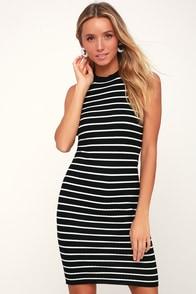 Syndicate Black Striped Ribbed Bodycon Midi Dress