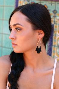 Mailie Black and Gold Tassel Earrings