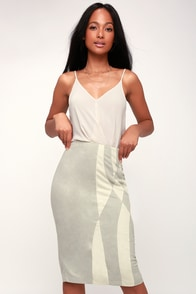 Bonafide Grey and Ivory Suede Pencil Skirt