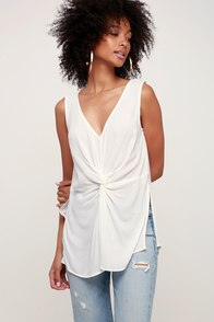 Something Extra White Knotted Front Tank Top