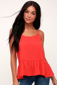 Reagan Coral Red Flounce Tank Top