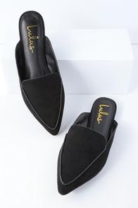Joelle Black Suede Loafer Slides