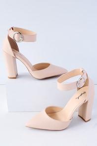 Yancy Nude Ankle Strap Heels