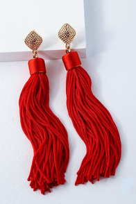 Royal Ways Red Tassel Earrings