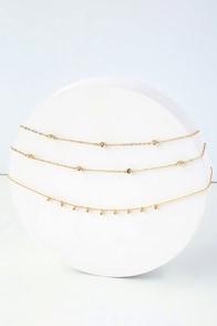 Catch a Glimpse Gold Rhinestone Layered Choker Necklace