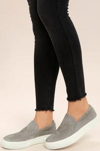 Gills Grey Suede Leather Flatform Sneakers