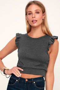 Flutter By Charcoal Grey Ribbed Crop Top
