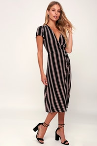 Sit Next To Me Black Striped Short Sleeve Midi Wrap Dress