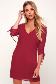 Romantic Twist Wine Red Long Sleeve Shift Dress
