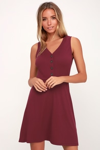 Belgrove Burgundy Button-Up Ribbed Skater Dress at Lulus.com!