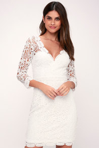 chic white dress lace dress midi dress lwd