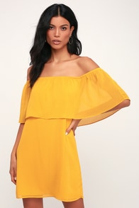 Manic Pixie Dream Mustard Yellow Off-the-Shoulder Dress at Lulus.com!