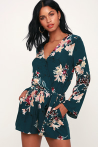 Where I Belong Teal Green Floral Print Long Sleeve Romper at Lulus.com!