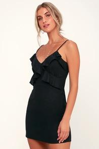 So Happy Black Ruffled Mini Dress