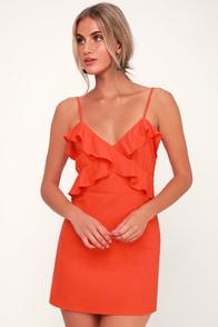 So Happy Coral Red Ruffled Mini Dress