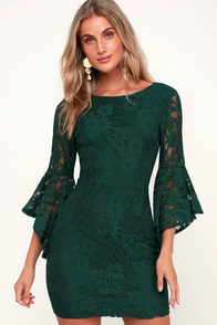Allure 'Em In Forest Green Lace Flounce Sleeve Dress at Lulus.com!