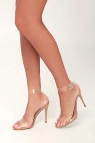 Seeme Natural Suede And Clear Vinyl Heels at Lulus.com!