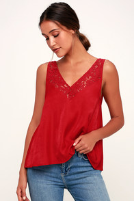 In My Feelings Red Lace Satin Tank Top at Lulus.com!