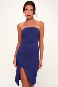 Jazzie Royal Blue Strapless Bodycon Dress